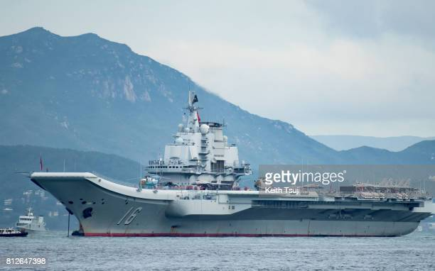 China's first aircraft carrier Liaoning aircraft carrier arrives on July 7 2017 in Hong Kong Hong Kong China's first aircraft carrier the Liaoning...