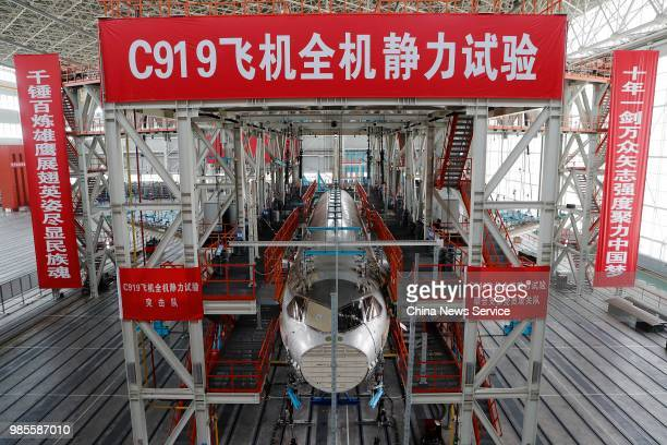 China's first domestically made C919 passenger jet is seen under static test before its trial flight on June 25 2018 in Shanghai China The C919...