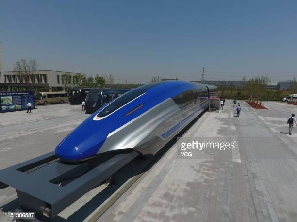 China's first highspeed maglev train testing prototype is seen on May 23 2019 in Qingdao Shandong Province of China China rolled off the production...