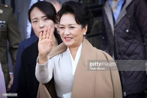 China's first lady Peng Liyuan visits the Royal Theatre on November 28 2018 in Madrid Spain
