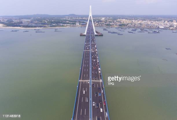 China's first sea bridge which across seismic fault come into service on 18 March, 2019 in Haikou,Hainan,China.