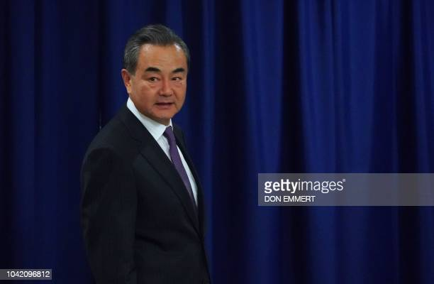 China's Foreign Minister Wang Yi attends a meeting with the United Nations Secretary General on September 27, 2018 at the United Nations in New York.