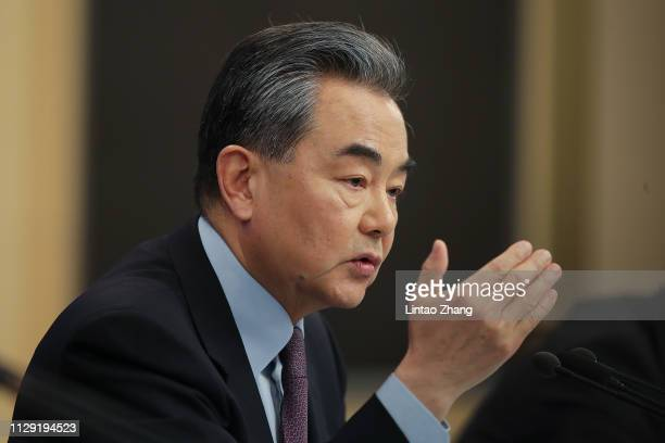 China's foreign minister Wang Yi attends a press conference at Media Center on March 8 2019 in Beijing China Wang Yi answered questions from Chinese...