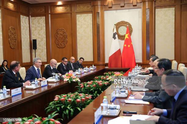 China's Foreign Minister Wang Yi meets with Malta's Minister of Foreign Affairs Carmelo Abela at Diaoyutai State Guesthouse on September 13 2018 in...