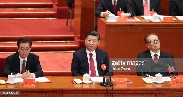 China's former president Hu Jintao Chinese President Xi Jinping and China's former president Jiang Zemin attends the closing of the 19th Communist...