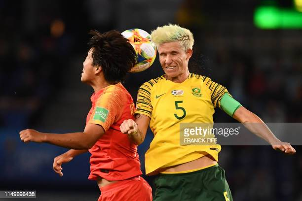 China's forward Shuang Wang vies with South Africa's defender Janine Van Wyk during the France 2019 Women's World Cup Group B football match between...