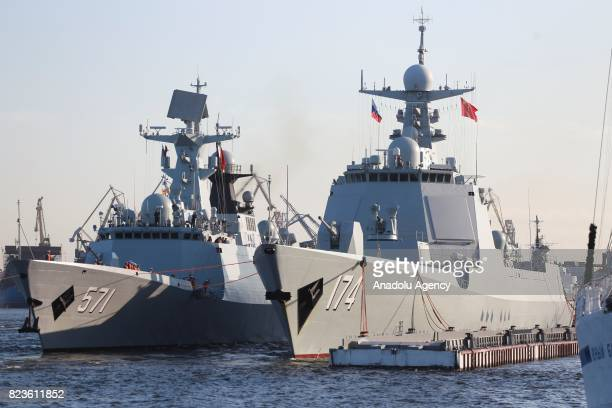 China's frigate Yuncheng and missile destroyer Hefei arrives at St Petersburg to take part in a ship parade marking Russian Navy Day in St Petersburg...