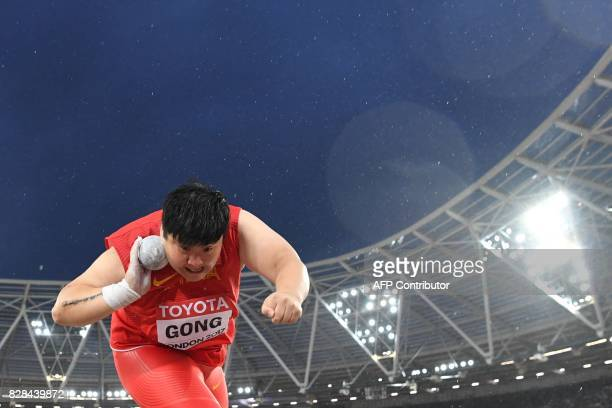 China's Gong Lijiao competes in the final of the women's shot put athletics event at the 2017 IAAF World Championships at the London Stadium in...