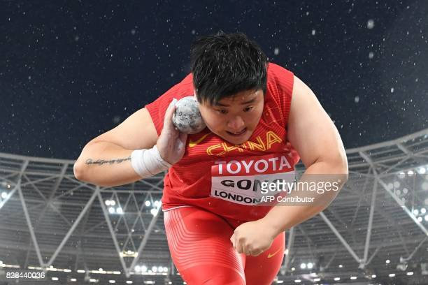 TOPSHOT China's Gong Lijiao competes in the final of the women's shot put athletics event at the 2017 IAAF World Championships at the London Stadium...