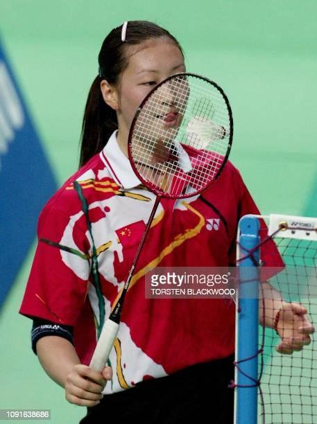 China's Gong Ruina licks her raquet after demolishing Hong Kong's Ling Wan Ting in the women's badminton semifinals at the 14th Asian Games in Busan,...