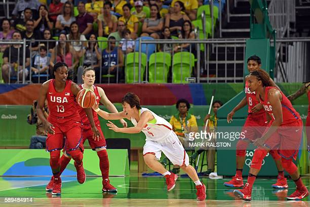China's guard Zhao Zhifang dribbles past USA's centre Sylvia Fowles during a Women's round Group B basketball match between China and USA at the...