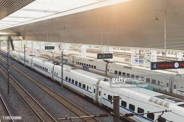 china's high speed rail train (or crh) in qinhuangdao - {{asset.href}} stock pictures, royalty-free photos & images