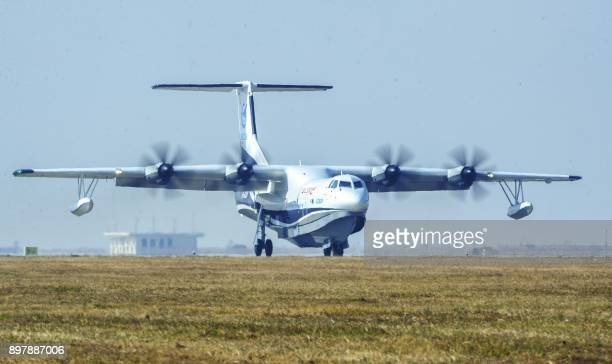 China's homegrown AG600 the world's largest amphibious aircraft in production also known as 'Kunlong' is seen at Jinwan Airport in Zhuhai in China's...