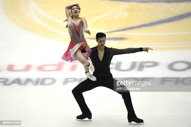 China's ice skaters Wang Shiyue and Liu Xinyue perform during the Ice Short Dance as part of the Cup of China ISU Grand Prix of Figure Skating in...