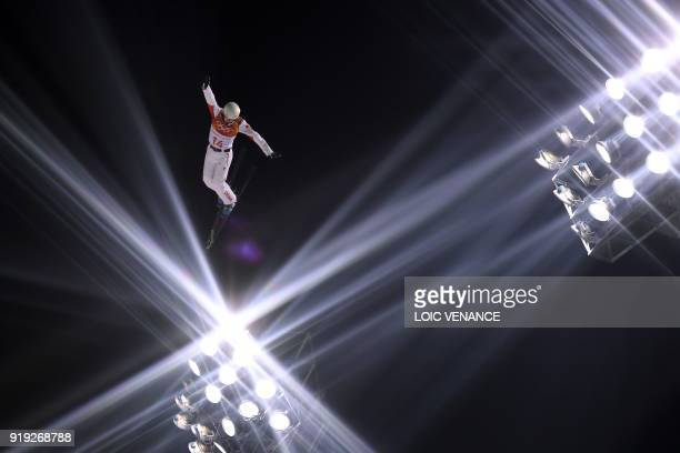 TOPSHOT China's Jia Zongyang competes in the men's aerials qualification event during the Pyeongchang 2018 Winter Olympic Games at the Phoenix Park...