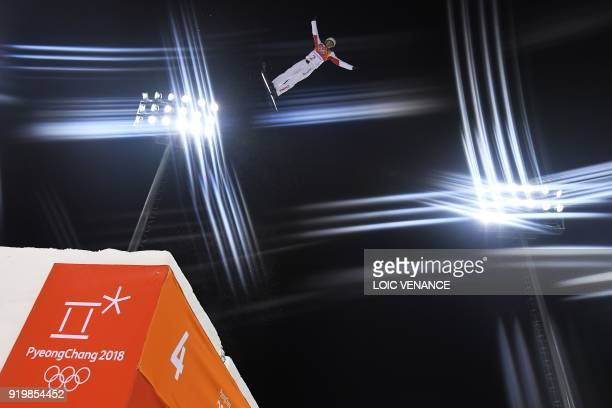 TOPSHOT China's Jia Zongyang trains prior to the men's aerials final during the Pyeongchang 2018 Winter Olympic Games at the Phoenix Park in...