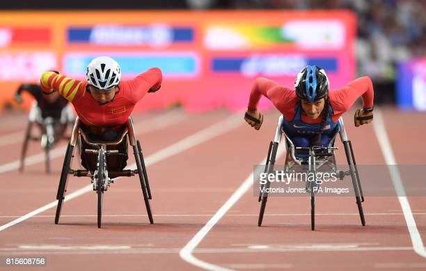 China's Jing Ma and USA's Cheri Madsen during the Women's 400m T54 first heat during day three of the 2017 World Para Athletics Championships at...