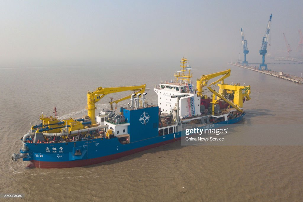 China's Largest Cutter-suction Dredger Tiankun Launches In Qidong : ニュース写真