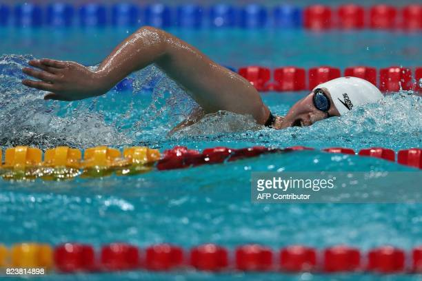 China's Li Bingjie competes in a heat of the women's 800m freestyle during the swimming competition at the 2017 FINA World Championships in Budapest...