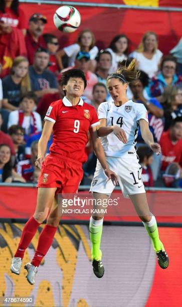 China's Li Jiayue heads the ball next to US player Morgan Brian during a 2015 FIFA Women's World Cup quarterfinal match between the US and China at...
