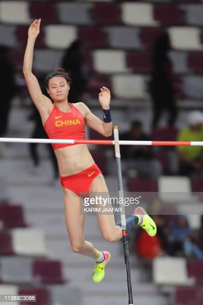 China's Ling Li competes in the women's pole vault event during the third day of the 23rd Asian Athletics Championships at Khalifa International...