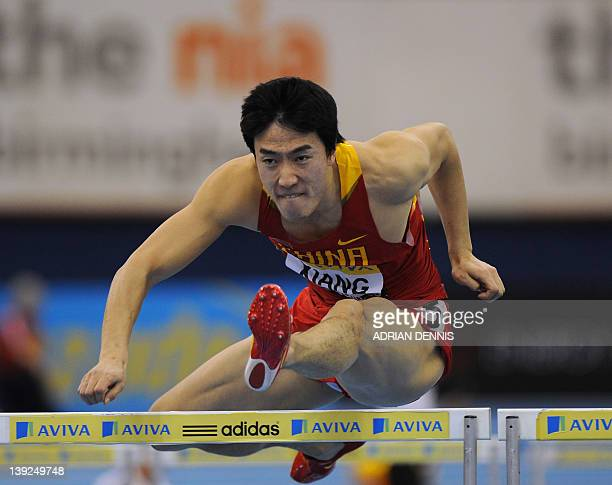 China's Liu Xiang on his way to victory in a heat of the Men's 60m Hurdles during the Aviva Grand Prix at The National Indoor Arena in Birmingham on...