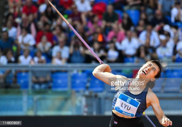 China's Lyu Huihui competes in the Women's Javelin Throw during the IAAF Diamond League competition on June 6, 2019 at the Olympic stadium in Rome.