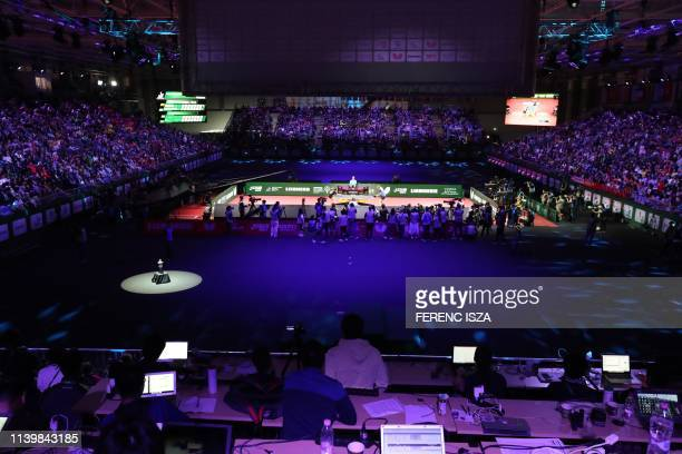 China's Ma Long plays againts Sweden's Mattias Falck on April 28, 2019 during the men's single final at the ITTF World Table Tennis Championships...