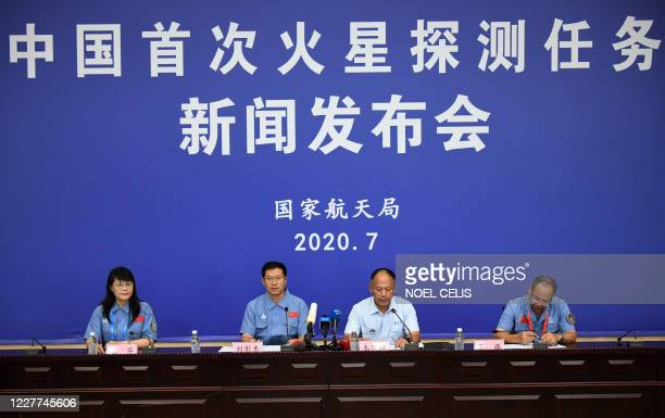 China's Mars Exploration Mission spokesperson Liu Tongjie , deputy chief of launch mission command Mao Wanbiao and chief commander of the Long...