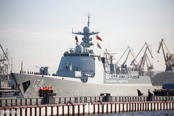 China's missile destroyer Hefei arrives at St Petersburg to take part in a ship parade marking Russian Navy Day in St Petersburg Russia 27 July 2017