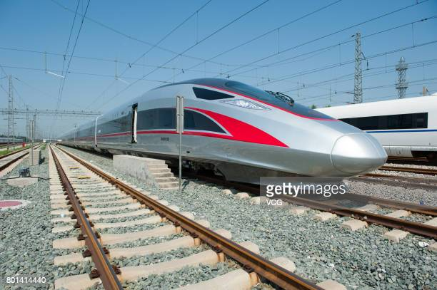 China's new high speed train 'Fuxing' is seen before its first route from Beijing to Shanghai on June 26 2017 in Beijing China Two new bullet trains...