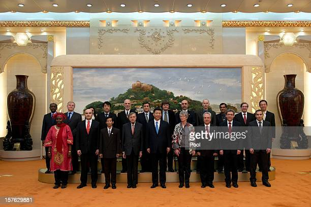 China's newly appointed leader Xi Jinping stands with a panel of foreign experts Yahia Mustafa Mohamed Ahmed Alistair Michie Bushra Naz Tokuchi...