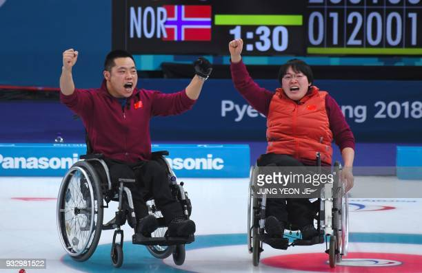 China's Norway's looks on after throwing a stone in the Wheelchair Curling gold medal game between China and Norway at the Gangneung Curling Centre...