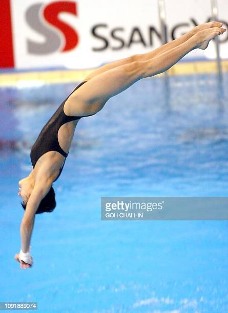 China's Olympic silver medallist Li Na performs her dive during the women's 10m platform diving final at the 14th Asian Games in Busan 12 October...