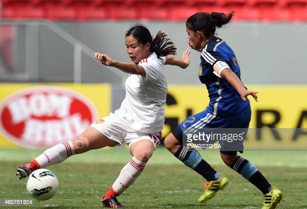 China's player Lou Jiahui vies for the ball with Argentina's player Laurina Oliveros during their Brasilia International Tournament football 3rd...