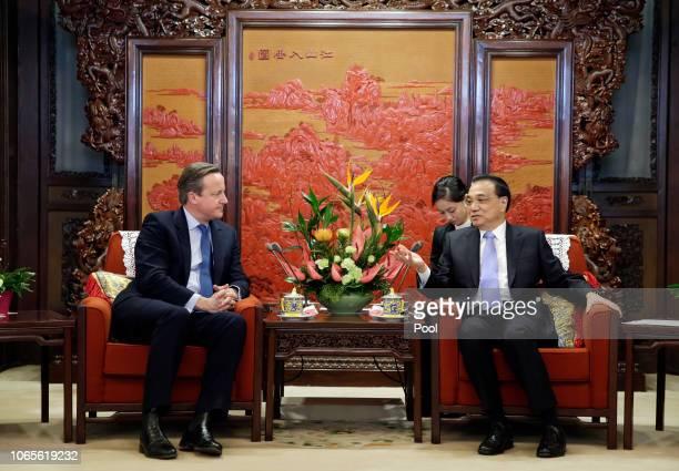 China's Premier Li Keqiang meets former British Prime Minister David Cameron at Zhongnanhai leadership compound on November 27, 2018 in Beijing,...