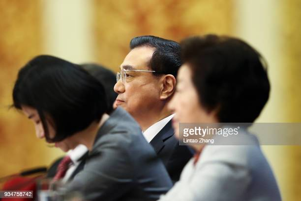 China's Premier Li Keqiang speaks during a news conference following the closing of the First Session of the 13th National People's Congress at the...