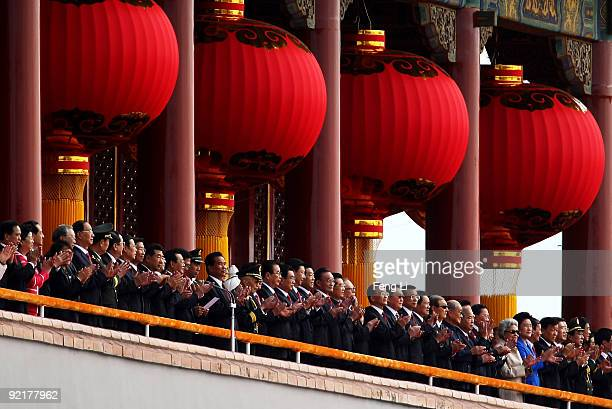 China's President Hu Jintao and other leaders review a parade to mark the 60th anniversary of the founding of the People's Republic of China on...