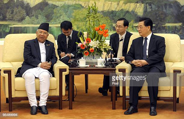China's President Hu Jintao meets with with Nepal's Prime Minister Madhav Kumar Nepal at the Great Hall of the People in Beijing on December 30 2009...
