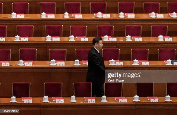 China's President Xi Jinping arrives at the closing session of the National People's Congress at The Great Hall Of The People on March 20 2018 in...