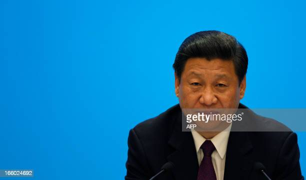 China's President Xi Jinping attedns a meetig with represetatives of entrepreneurs at the Boao Forum for Asia annual conference in Boao on the...