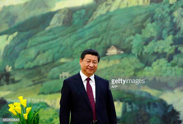 China's President Xi Jinping attends a meeting with former US president Bill Clinton at the Great Hall of the People in Beijing on November 18 2013...