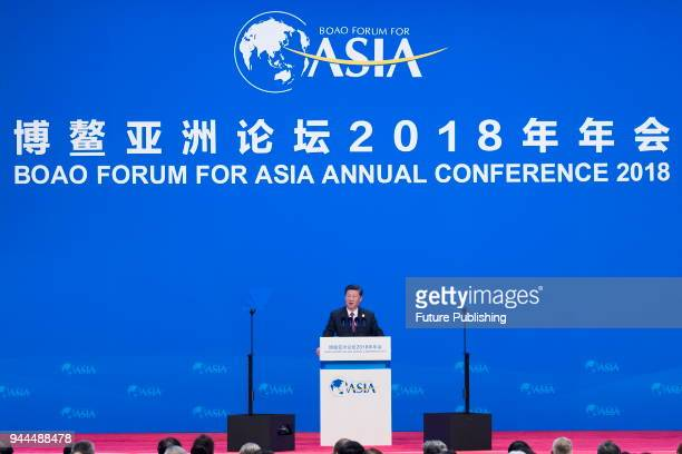 China's President Xi Jinping delivers a speech promising more openingup of the economy at the Boao Forum for Asia in Boao in south China's Hainan...