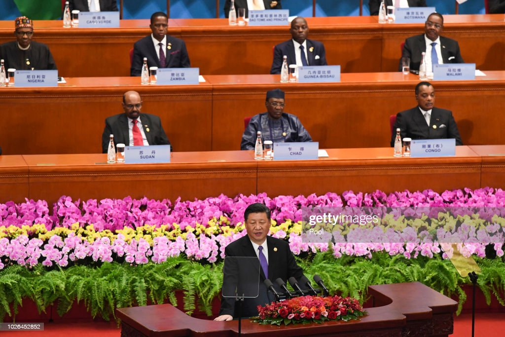China's President Xi Jinping, front center, gives a speech during the opening ceremony of the Forum on China-Africa Cooperation at the Great Hall of the People on September 3, 2018 in Beijing, China.