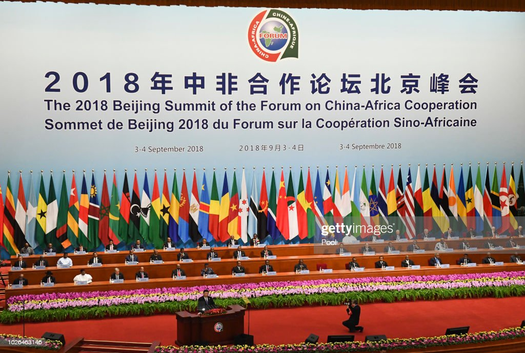 China's President Xi Jinping, front left, gives a speech during the opening ceremony of the Forum on China-Africa Cooperation at the Great Hall of the People on September 3, 2018 in Beijing, China.