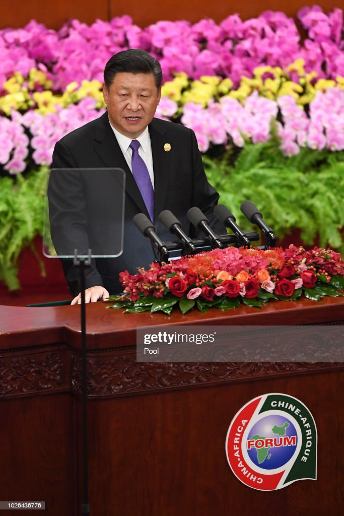 China's President Xi Jinping gives a speech during the opening ceremony of the Forum on China-Africa Cooperation at the Great Hall of the People on September 3, 2018 in Beijing, China.