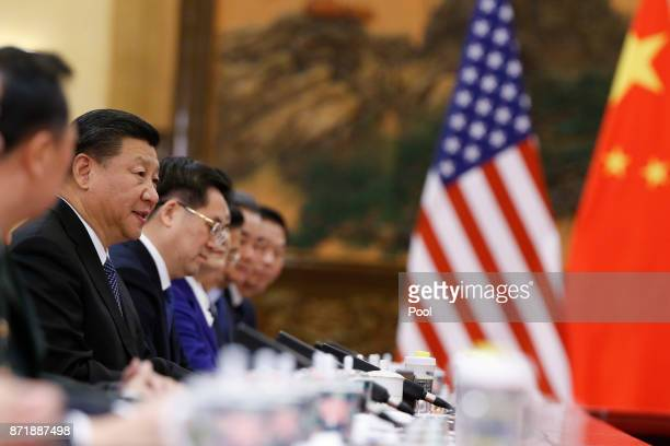 China's President Xi Jinping hosts bilateral meetings with US President Donald Trump at the Great Hall of the People on November 9 2017 in Beijing...