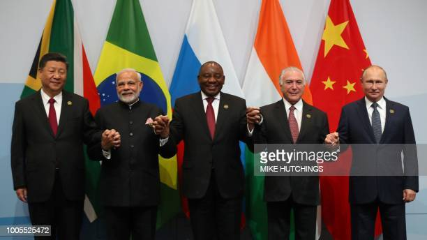 China's President Xi Jinping, India's Prime Minister Narendra Modi, South Africa's President Cyril Ramaphosa, Brazil's President Michel Temer and...