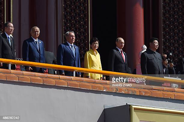 China's President Xi Jinping is joined by UN SecretaryGeneral Ban KiMoon Uzbekistan President Islam Karimov Kazakhstan President Nursultan Nazarbayev...