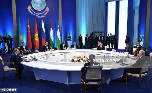China's President Xi Jinping Kyrgyzstan's President Almazbek Atambayev Russia's President Vladimir Putin Tajikistan's President Emomali Rahmon attend...
